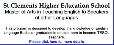 St Clements Higher Education School Niue - Master of Arts Tesol